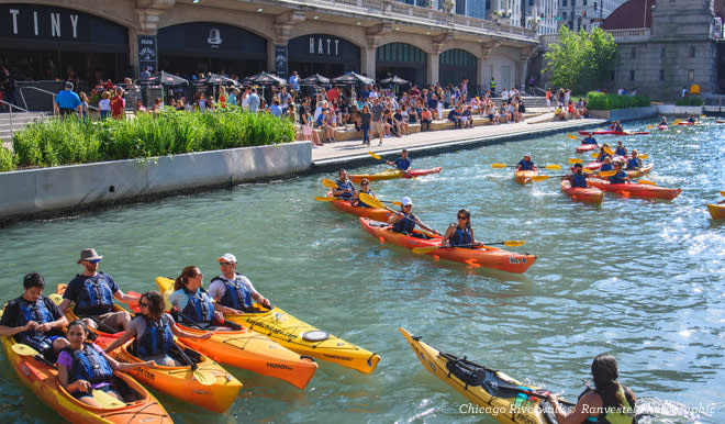 Kayaks along the Chicago Riverwalk