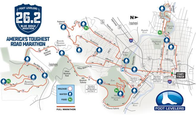 Blue Ridge Marathon Race Course Map