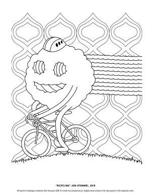 """Bicycling"" Coloring Page"