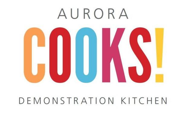 Aurora Cooks - logo for their new demonstration kitchen