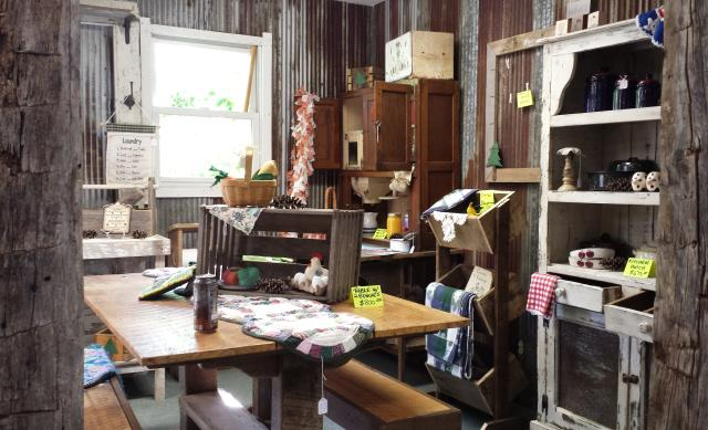 Rustic decor at the Indiana Dream Team Barnwood Furniture Store.