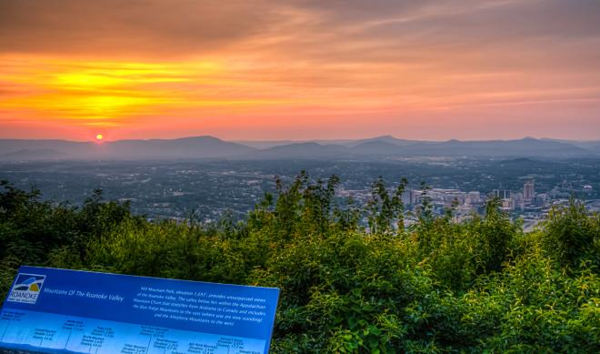 Sunset from Mill Mountain Overlook at Roanoke Star - Roanoke, VA