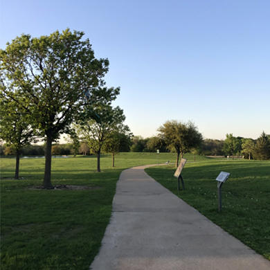 Trail at Frisco Commons with history marker