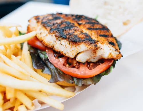 Nassau St Seafood fries and grilled fish sandwich