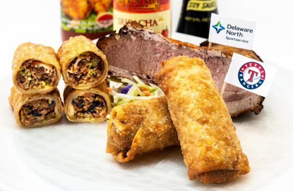Photo of brisket eggrolls, new food at Globe Life Field