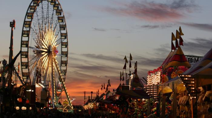 Houston Rodeo Midway with ferris wheel and carnival games