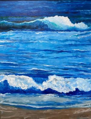 Santa Monica Beach Art on Canvas by Karen Fontenot