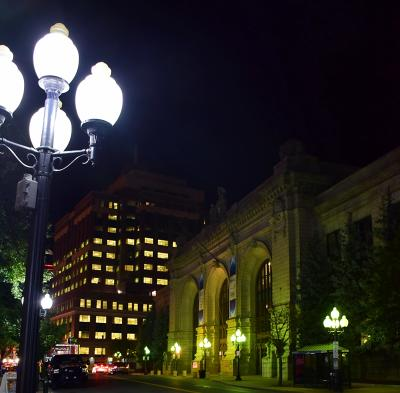 Downtown Albany at night