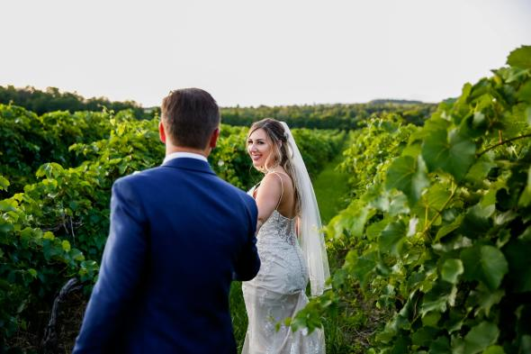 bride and groom-vineyards
