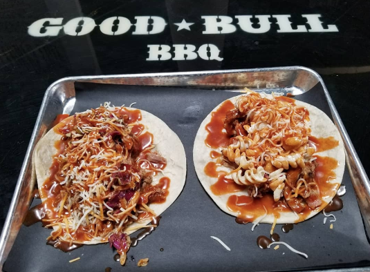 Good Bull BBQ Tacos on a tray