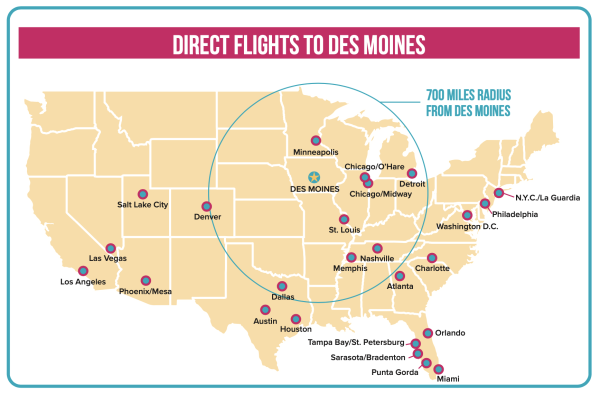 Des Moines International Airport Direct Flights Map