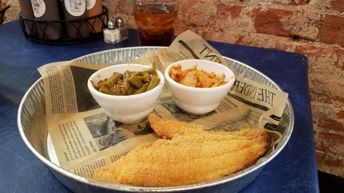 Catfish dinner with green beans and cheesy potatoes from Holy Smoke Hog Roast Company in Martinsville.