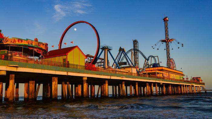Moonrise over Galveston Pleasure Pier
