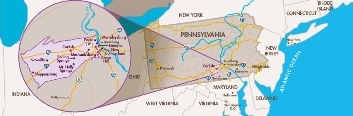 A map illustrating the location of Cumberland Valley, PA & Surrounding States.