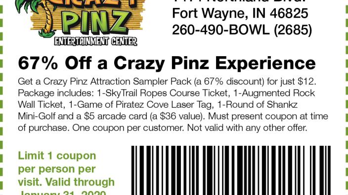 graphic regarding Crazy 8 Printable Coupon known as 67% Off Nuts Pinz Knowledge