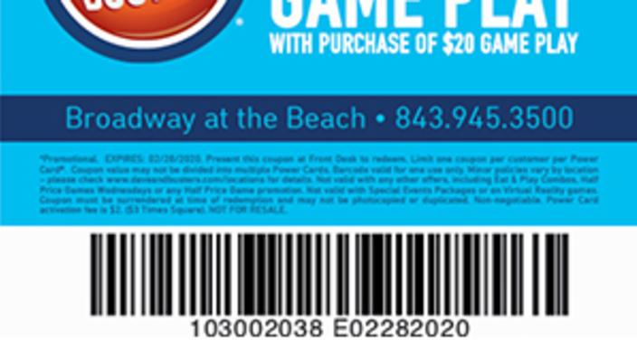 photo regarding Dave and Busters Coupons Printable identified as Dave Busters - Totally free $20 Match Enjoy