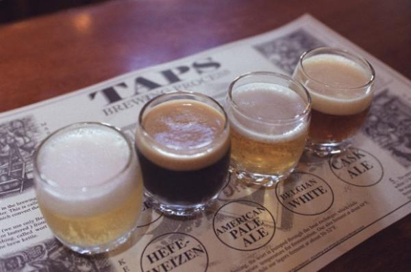 TAPS Fish House & Brewery beer flight