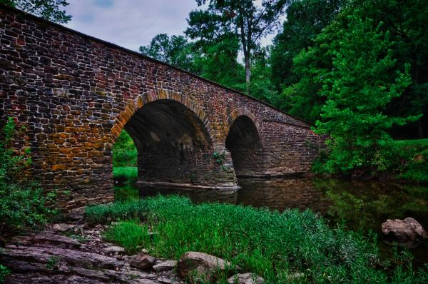 View of the old stone bridge at Manassas National Battlefield Park
