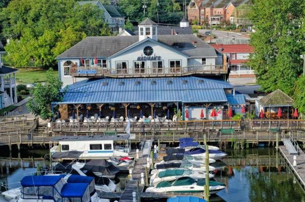 Madigan's Waterfront Restaurant exterior view with boats in the foreground