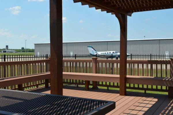 Covered pavilion at the green space at the Sugar Land Regional Airport.