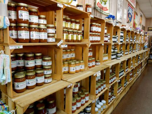 Local products on shelves at McCutcheons