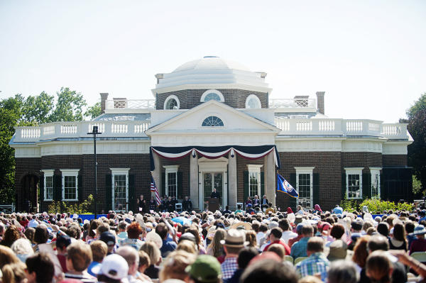 Crowd at Monticello July 4th naturalization ceremony