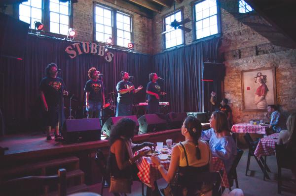 Singers on stage at Stubbs Gospel Brunch