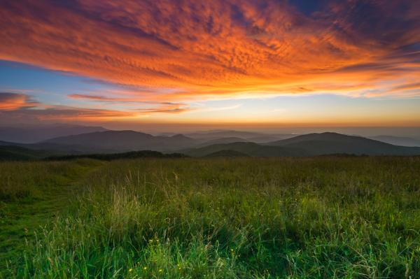 A beautiful sunset as seen from Max Patch mountain in Pisgah National Forest near Asheville, NC