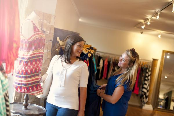 Two girls shopping apparel at Boho 72 Boutique in Historic Dublin