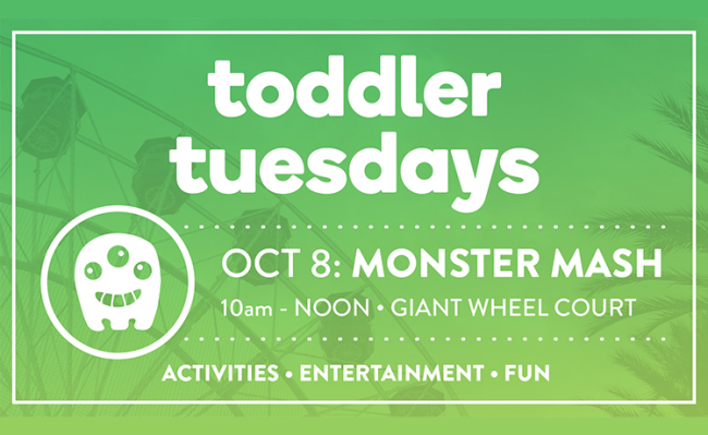 Join the center on Tuesday, October 8 from 10 am - 12 pm in Giant Wheel Court to experience a morning of fun.
