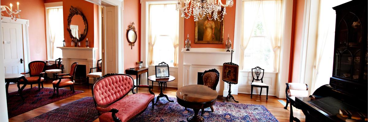 French Parlor with antique furnishing at Neill Cochran House Museum in Austin Texas