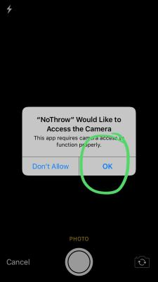 Allow the app access to your camera