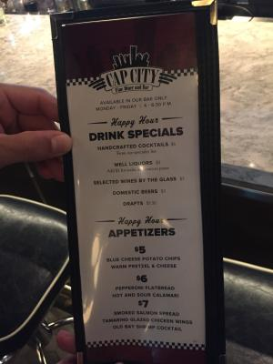 Cap City Happy Hour menu