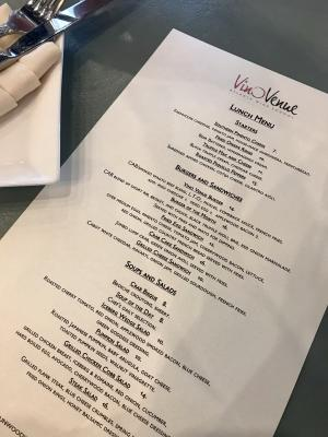 Vino Venue Lunch Menu