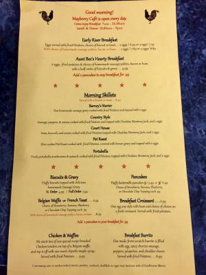 The new breakfast menu at Mayberry Cafe has a lot to offer.