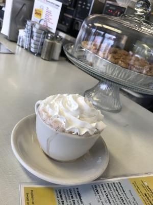 Delicious hot cocoa at the Oasis Diner