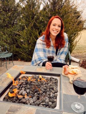 Rebekah Baughman at White Tail Run Winery Patio Fire in Edgerton, KS