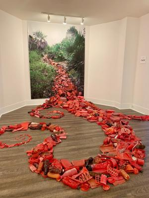 Can't You Sea? red plastic art exhibit
