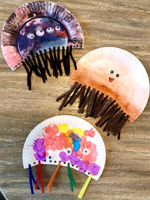 Completed Cannonball jellyfish crafts, Myrtle Beach, SC