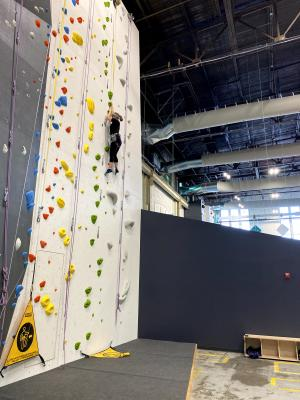 Woman Climbing a Rock Wall
