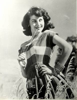 An image of Ava Gardner when she was young in a hay field that may be on display at the Ava Gardner Museum in Smithfield, NC.