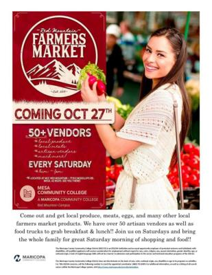 Red Mountain Farmers Market at Mesa Community College Flyer