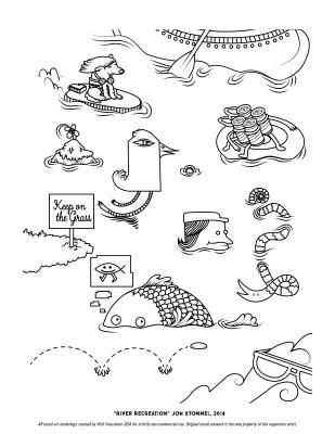 """River Recreation"" Coloring Page"