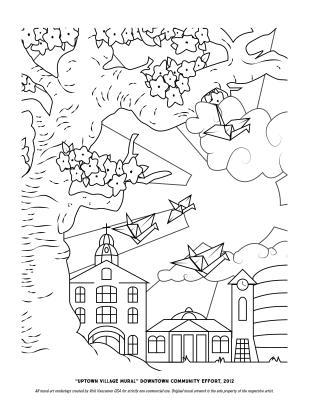 """Uptown Village"" Coloring Page"
