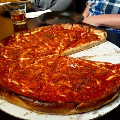 Chicago-style pizza from Meister's Bar