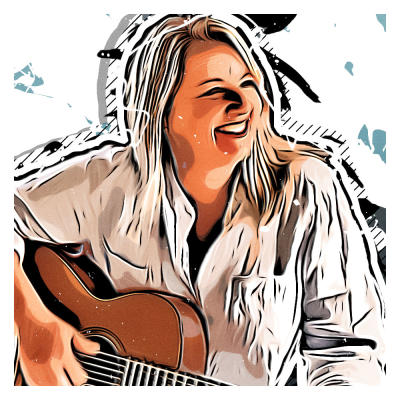 An illustrated portrait of the award-winning songwriter and business woman Liz Rose.