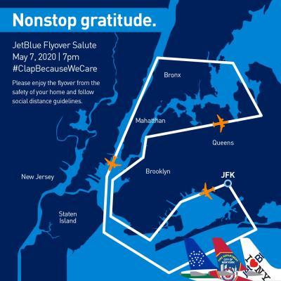Jet Blue NYC Flyover