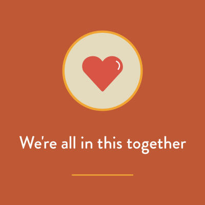 We are all in this together heart graphic
