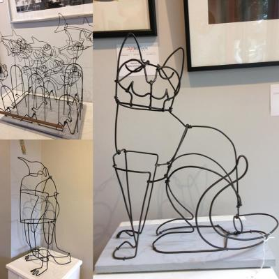 Wire sculptures at Art in Bloom
