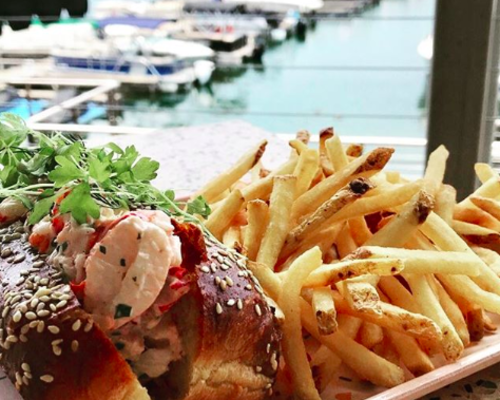 Lobster roll at Hello Sailor- waterfront view